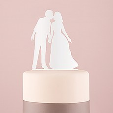 With a Kiss Silhouette Acrylic Cake Topper - White