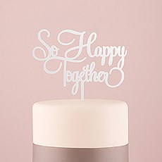 So Happy Acrylic Cake Topper - White
