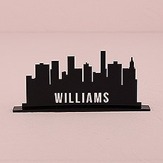 Personalized Industrial Cityscape Black Acrylic Sign