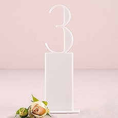 White Acrylic Table Number - Pedestal Style