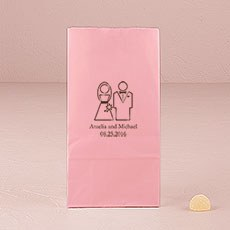 Stylized Bride and Groom Block Bottom Gusset Paper Goodie Bags