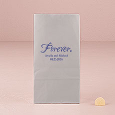 """Forever."" Block Bottom Gusset Paper Goodie Bags"