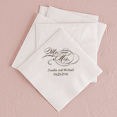Mr and Mrs - Script Printed Napkins