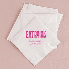 Eat, Drink & Be Married - Block Style Printed Napkins