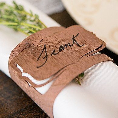 Wood Veneer Bracked Place Card Napkin Ring