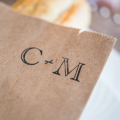Burlap Chic Monogram Personalized Rubber Stamp