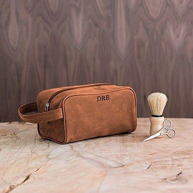 Tanned Genuine Leather Travel Toiletry Bag   Personalized