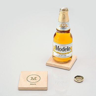 Natural Wood Coaster with Built-in Bottle Opener - Typewriter Monogram Etching