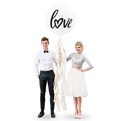 Jumbo White Round Wedding Balloon Decorations - Love