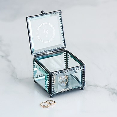 Vintage Inspired Glass Jewelry Box - Modern Monogram Etching