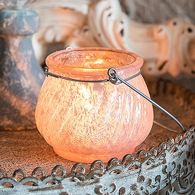 Miniature Glass Tealight Holder with Wire Hanger