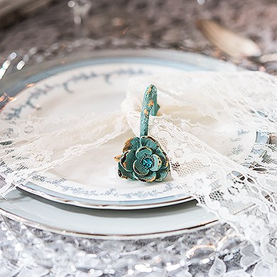 Vintage Floral Napkin Ring with Distressed Finish and Jewel Accents