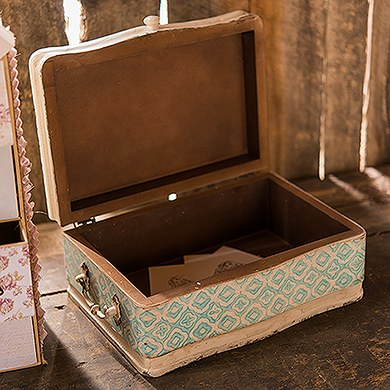 vintage suitcase wedding wishing well - wood