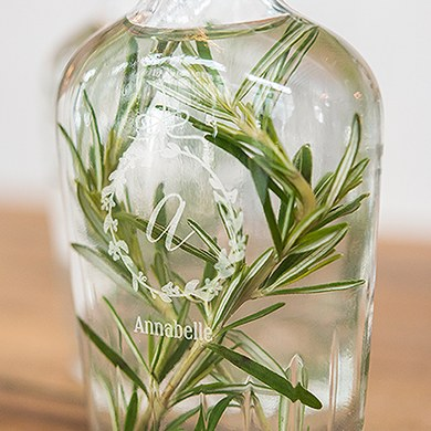 Vintage Inspired Clear Glass Flask   Botanical Wreath Etching