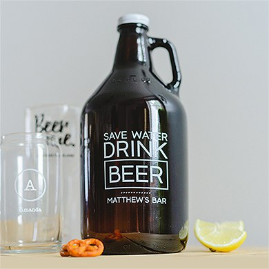 Personalized Micro Brew Amber Glass Beer Growler - Drink Beer Printing