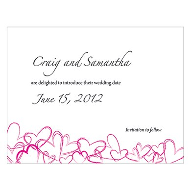 Contemporary Hearts Wedding Save The Date Card