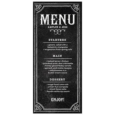 Menu Card with Chalkboard Print Design