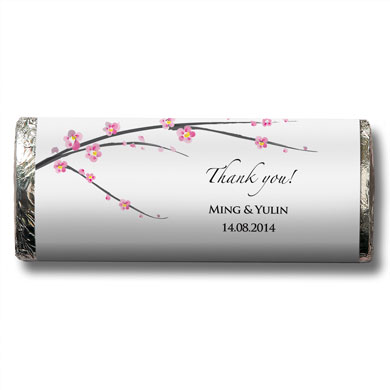 Cherry Blossom Wedding Favor Chocolate Bar