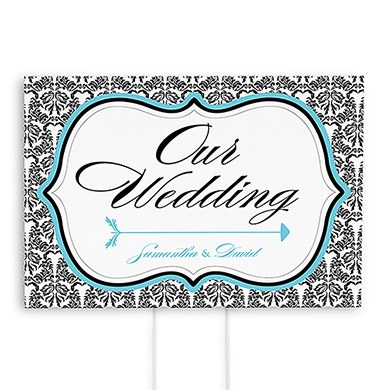 Love Bird Damask Wedding Reception and Ceremony Directional Road Signs