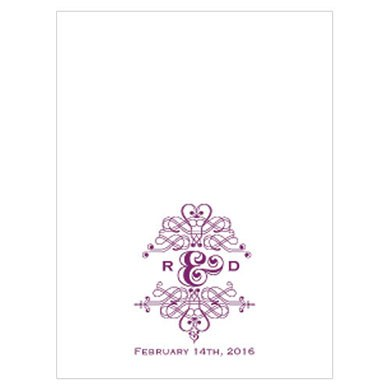 Fanciful Monogram Wedding Place Card With Fold