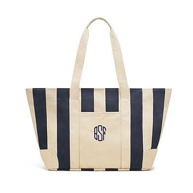 Large Striped Canvas Tote Bag Navy