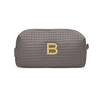Small Cotton Waffle Cosmetic Bag Gray