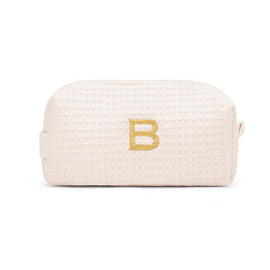 Small Cotton Waffle Cosmetic Bag Ivory