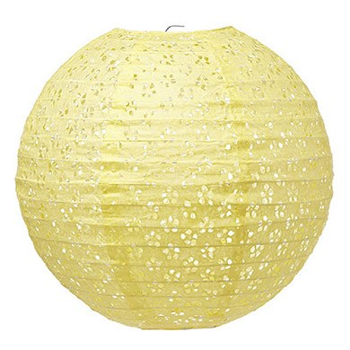 Large Eyelet Paper Lantern Light Yellow