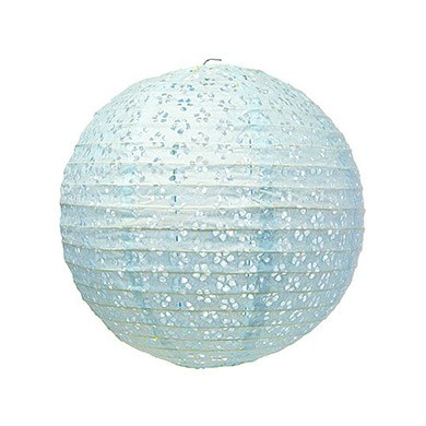 Small Eyelet Paper Lantern Light Blue