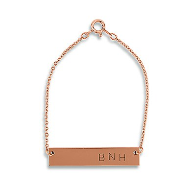 Horizontal Rectangle Tag Bracelet   Rose Gold