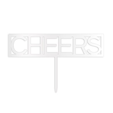 Block Cheers Acrylic Cake Topper - White