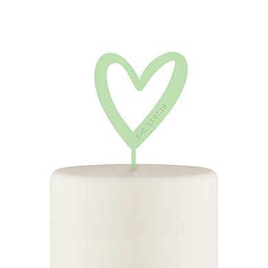Personalized Mod Heart Acrylic Cake Topper - Daiquiri Green