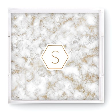 Square Acrylic Tray - Geo Marble Initial Foiled Print