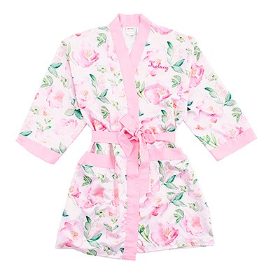 Pink Watercolor Floral Silky Kimono Robe On Pink , Relaxed Fit