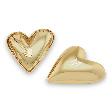 Gold Modern Heart Jewelry Box - Single Initial with Line of Text Etching