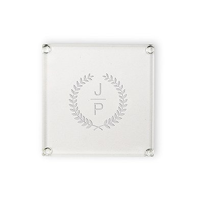 Monogrammed Glass Drink Coaster with Leaf Crest