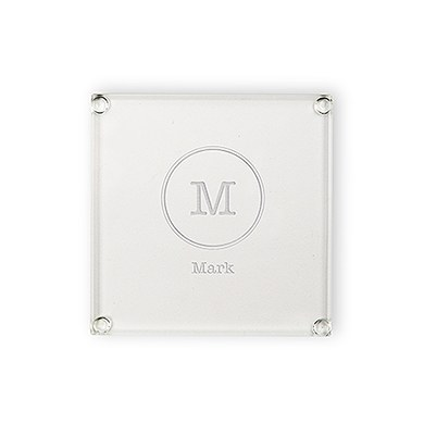 Personalized Glass Drink Coaster - Typewriter Monogram