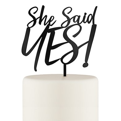 She Said Yes! Engagement Cake Topper