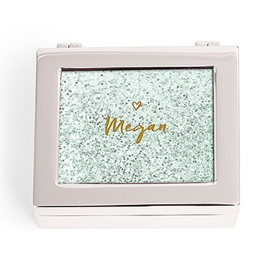 Small Modern Personalized Jewelry Box - Glitter Heart Print