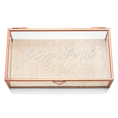 Personalized Glass Jewelry Box with Rose Gold - Elegant Calligraphy Printing