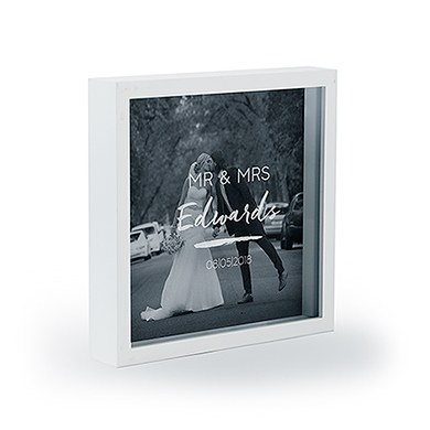 Shadow Box Photo Frame   Script Font Etching