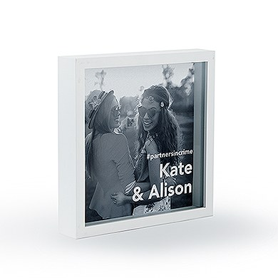 Shadow Box Photo Frame   Block Font Etching