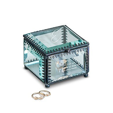 Vintage Inspired Glass Jewelry Box - Personalized