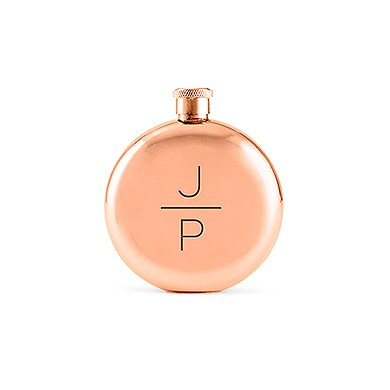 Polished Rose Gold Round Flask   Stacked Monogram Etching