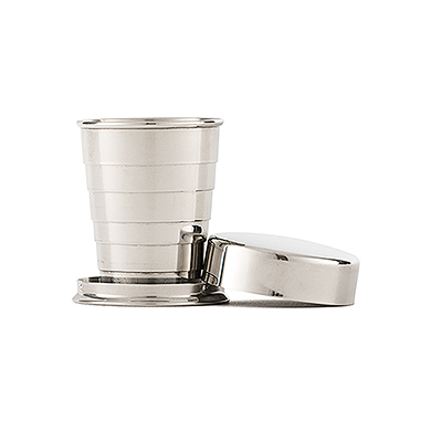 Stainless Steel Collapsing Shot Glass Cheers Etching