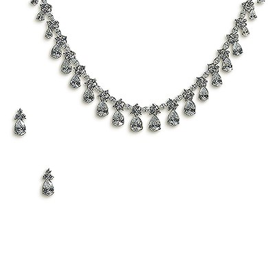 Cubic Zirconia Drop Wedding Jewelry Set