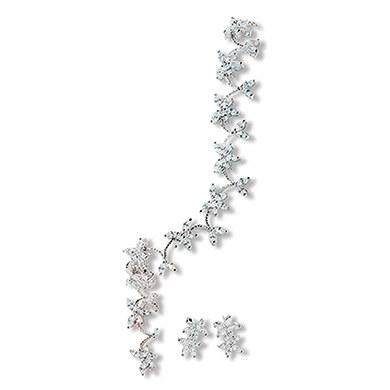 Cubic Zirconia Clusters in Silver Bridal Jewelry Accessory