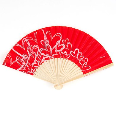 contemporary hearts wedding favor hand fans red