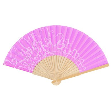 contemporary hearts wedding favor hand fans orchid purple