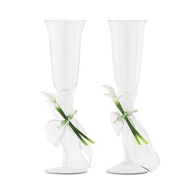 Bridal Beauty Calla Lily Wedding Reception Toasting Flute Set